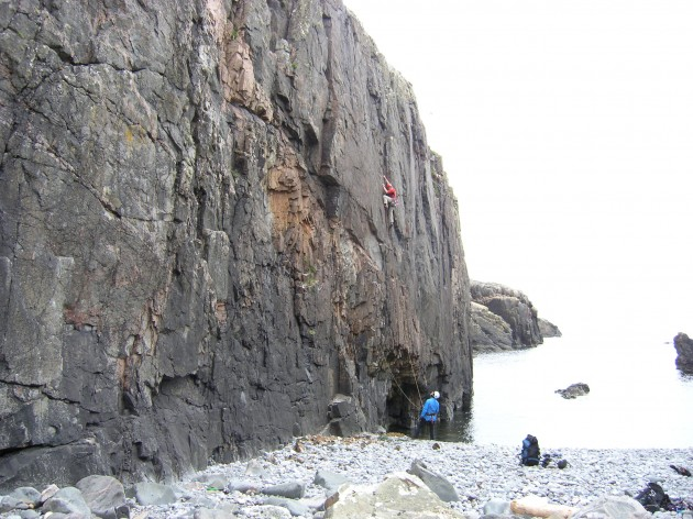 Ross on 'Medusa' first ascent, Hamar.